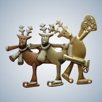 Christmas Ice Skating Reindeer KC Brooch Pin 2-1/2""