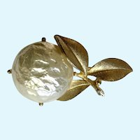 """Vintage Sarah Coventry Faux Pearl Fruit on Gold-tone Branch Brooch Pin Costume Jewelry 1-3/4"""""""