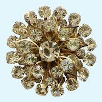 "Vintage Sparkling Diamond Rhinstone Cluster Flower Brooch Pin Costume Jewelry 2"""