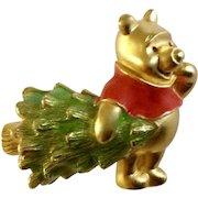 "Disney Winnie The Pooh Christmas Tree Brooch Pin Costume Jewelry 1-1/4"""