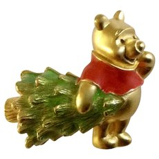 Disney Winnie The Pooh Christmas Tree Brooch Pin Costume Jewelry 1-1/4""
