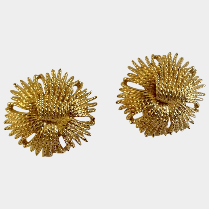 Vintage Monet Gold Tone Filigree Flower Clip On Earrings Costume Gumgumfuninthesun Ruby Lane