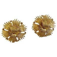 "Vintage Monet Gold-tone Filigree Flower Clip-on Earrings Costume Jewelry 1-1/8"""