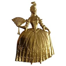 """Victorian Lady With Fan Gold-tone brooch Pin Costume Jewelry 2-1/4"""""""