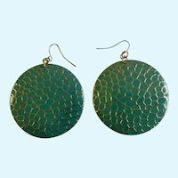 Vintage Green and Gold-tone Circle Fishhook Earrings For Pierced Ears Costume Jewelry 2""