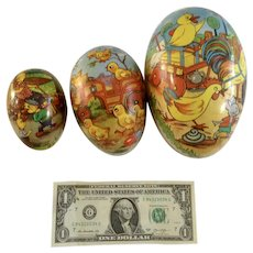 Vintage Paper Mache Easter Egg Candy Container Made in Germany 3 Nesting Mice, Ducks, Roosters