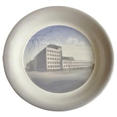 Very Rare 1957 Royal Copenhagen Soup Bowl Industry Building Laur. Knudsen Electrical Manufacturing Denmark Collectors Plate
