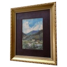Endre Peter Darvas Mountain Watercolor Landscape Signed By Hungary Listed Artist