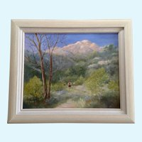 Gladys S. Peggy Mayo Colbrunn (1917-2007) Mountain Hiking Landscape Oil Painting
