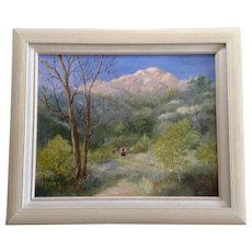 Gladys S. Peggy Mayo Colbrunn (1917-2007) Hiking in the Mountain Landscape Oil Painting on Canvas Signed By Colorado Springs Artist