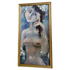 Billy Saxton Kaiki Phillips, Titled, What to Wear Female Nude Impressionist Oil Painting on Canvas Board Signed By Artist