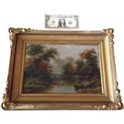 Antique 19th Century Fishing on a Peaceful Stream Bank Landscape Oil Painting On Canvas