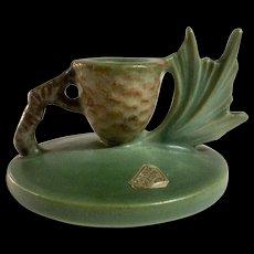 Roseville Art Pottery Rare Dark Forest Green Pinecone Candle Holder #1123 Tip Restored