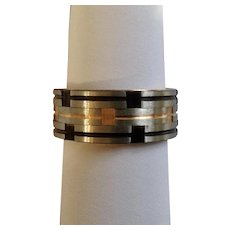 Men's Inox Stainless Steel Ring With Black, Silver-tone and Gold-tone Bands Size 12.25