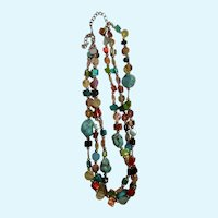 """Vintage Three Strand Turquoise Stones and Multicolor Shell Beaded Necklace Costume Jewelry 20-1/2"""""""