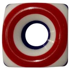 Retro Red, White and Blue Rounded Square Bullseye Brooch Pin Costume Jewelry 1-1/2""