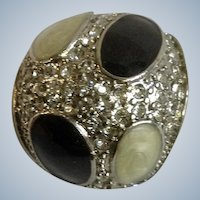 Black and White Spots on an Faux Diamond Encrusted Silver-tone Ring Costume Jewelry Size 9