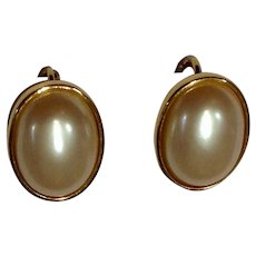 """Vintage Faux Pearl and Gold-tone Clip-on Earrings Costume Jewelry 3/4"""""""