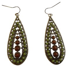 Dangling Green and Brown Teardrop Beaded Fishhook Earrings