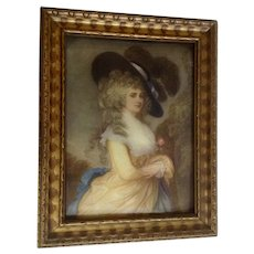 Georgiana Cavendish, Duchess of Devonshire, Beautiful Portrait of Woman In Yellow Dress and Black Hat Vintage Lithograph Print 1920's
