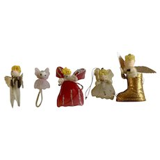 Vintage Angel Hand Made Pipe Cleaner Girls Christmas Tree Ornaments and Decorations