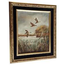 Zila, Ducks In Flight Landscape Oil Painting On Canvas Signed by Artist
