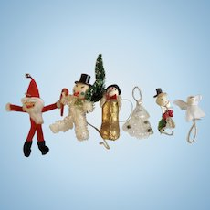 Vintage Santa Claus, Angel and Snowman Pipe Cleaner Christmas Ornaments 6 Decorations