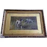 Gustav Muss Arnolt (American 1858-1927) Two Pointers in a Field Original Framed Chromolithograph Art Untouched Picture