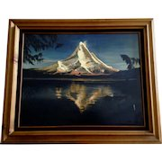Mount Fuji Landscape Japan Oil Painting on Canvas Signed By Japanese Artist