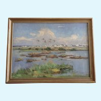 Corell, Flight Of Waterfowl, Landscape Oil Painting On Canvas Signed By Artist
