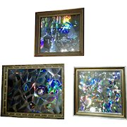 3 Gertrude Milton Walcher Holographic Abstract Mixed Media Art 1960-1970 Titled : Soap Bubbles, Our Solar System and Germanium Crystal