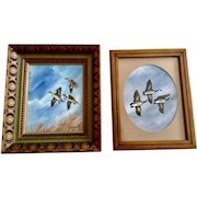 Fred A Kingwill, Watercolor Paintings Flight of Canadian Geese and Pintail Ducks Signed by Listed Artist