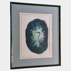 Jerry Vallez, ( 1927-2012)  Tri-Colored Great Blue Heron Bird Watercolor Painting works on Paper Signed By Naples, Florida Artist