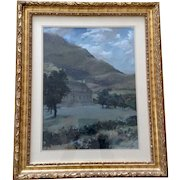 Davison, Estate Landscape Gouache Watercolor Painting Signed by Artist 1968