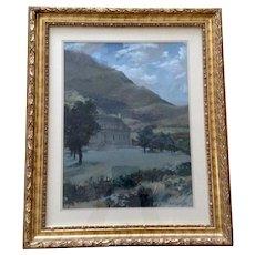 Davison, Estate Landscape Gouache Watercolor Painting Signed by Artist 1968