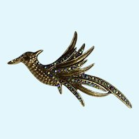 Gorgeous Aurora Borealis Bird in Flight Vintage Bronze Colored Pin Brooch