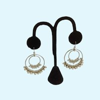 Two Dangling Silver-tone Loops Dangling Beads Fishhook Earrings