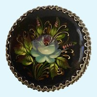 Russian Black Lacquer Blue Flower Hand Painted Floral Brooch Pin