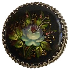 "Russian Black lacquer Blue Flower Hand painted and Made Floral Brooch Pin Signed by Artist 1-1/4"" Blue Flower Hand painted and Made Floral Brooch Pin Signed by Artist 1-1/4"""