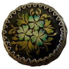 """Russian Black lacquer Three Blue Flowers Hand painted and Made Floral Brooch Pin 1-1/8"""""""