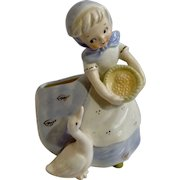 Vintage Napco Girl Feeding Goose National Potteries Cleveland Ohio 3B 2739 Pottery Ceramic Japan Planter Vase Figurine