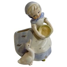 Vintage Napco Girl Feeding Goose National Potteries Cleveland Ohio 3B 2739 Pottery Ceramic Japan Planter Vase Figurine