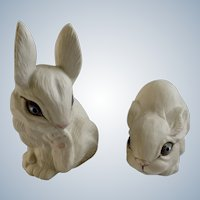 Highly Glazed Unique Blue Eyes White Bunny Rabbits Porcelain Animal Figurines Signed by Artist Pauline 1988