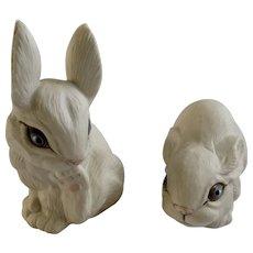 Highly Glazed Unique Blue Eyes White Bunny Rabbits Porcelain Animal Figurines Signed by Artist Pauline 1988