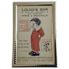 Vintage Louigi's Bar Advertisement Paris Unused Postcard in Frame