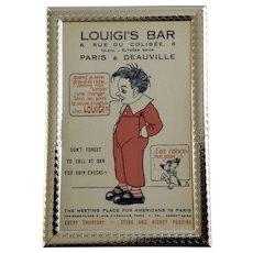 Vintage Louigi's Bar Advertisement Paris Unused Postcard in Frame