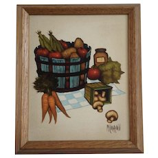 McCarroll, Vegetable Basket Kitchen Oil Painting on Canvas Signed by Artist