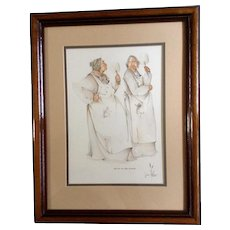 Joan Brown Native American Cherokee Indian Oklahoma, Original Watercolor Gouache Pencil Mixed Media Works on Paper, Signed by Artist, Two Women Talking in the Kitchen, Titled, Hot Air In The Kitchen.