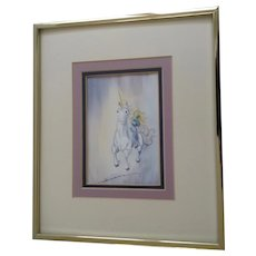 Bernice Coleman, Girl Rinding Unicorn Horse Watercolor Painting Signed by Artist