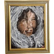 Mark Smith Eskimo Boy Figural People Portrait Oil Painting On Canvas Signed by Artist 1977